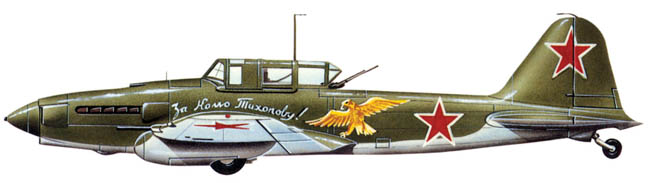This Ilyushin IL-2m3 is emblazoned with the red star of the Soviet Union and patriotic slogans.