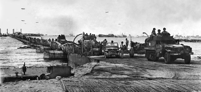 The Mulberry artificial harbors proved a logistical wonder along the beaches of Normandy.