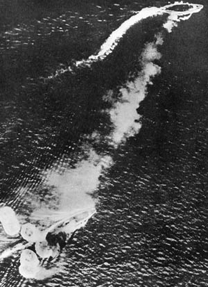 The HMS Prince of Wales and the HMS Repulse gasp their dying breaths after attempting to fend off Japanese torpedo bombers.