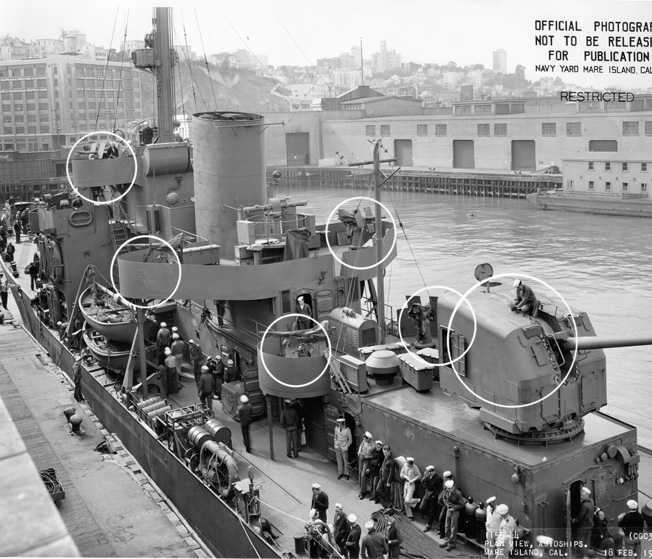Departing the Mare Island Navy Yard, the Taney sports new armament upgrades, including new enclosed 5-inch turrets and several 20mm antiaircraft guns.
