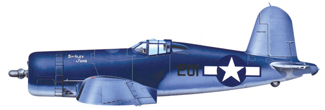 The Chance Vought F4U-2 Corsair made its combat debut in the Pacific with U.S. Marine Corps fighter squadrons based on Guadalcanal in the Solomons.
