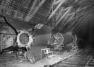 A V-2 rocket at its manufacturing facility.