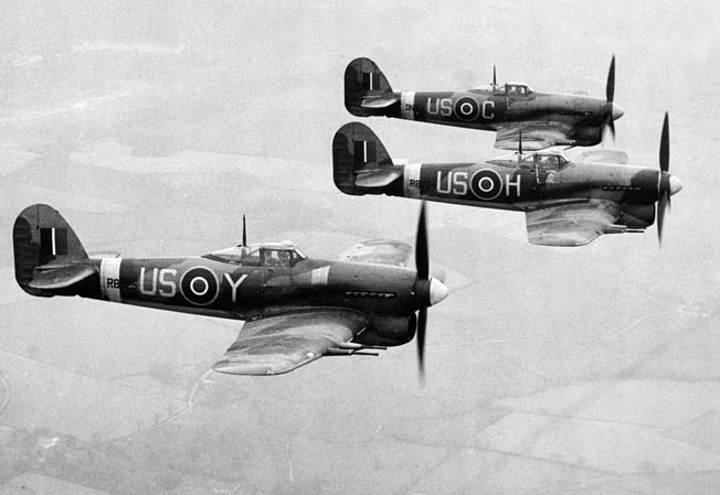 Three Hawker Typhoon fighter aircrafts of the British Royal Air Force, 1943. The following year, Typhoons would play a critical role in the Battle of the Falaise Pocket.