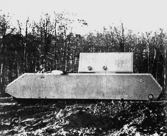 A 1944 prototype of the gigantic Maus, a Nazi supertank conceived by Porsche. Few were completed, and the design was later viewed as a dismal failure.