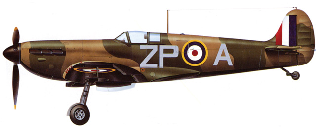 A Supermarine Spitfire Mk. I of the No. 74 Squadron, which served during the Battle of Britain, reveals the dark camouflage scheme in use at the time of the battle and the sleek profile of the famed fighter.