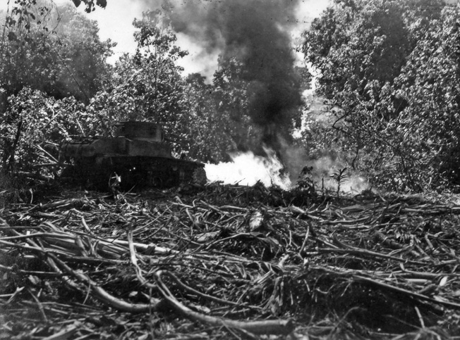 On the island of Bougainville on January 30, 1944, an M3A1 Stuart light tank of Company A, 754th Tank Battalion burns out a Japanese bunker with its flamethrower in an area of fierce combat dubbed the Hornet's Nest by American soldiers.