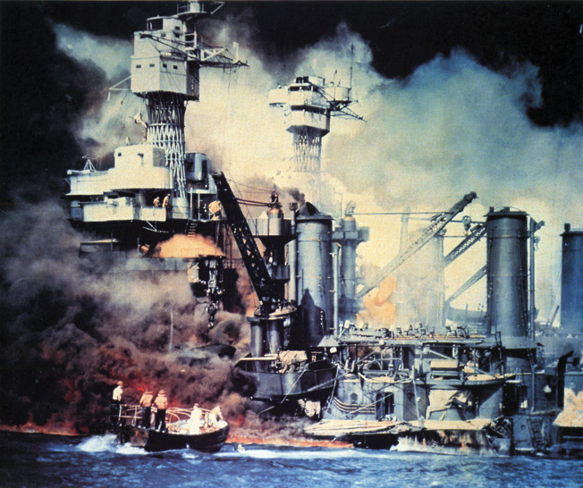 Declassified in March of 1950, this photo of the USS West Virginia conveys the destruction and horror of the Japanese attack on Pearl Harbor.