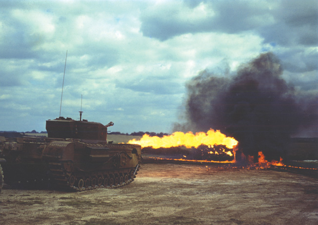 Fitted with the Crocodile flamethrower apparatus, the Churchill was a feared adversary, although its flammable petroleum was carried in an exposed trailer that was towed behind the tank. The Crocodile was capable of spewing a jet of flame 120 yards in length.