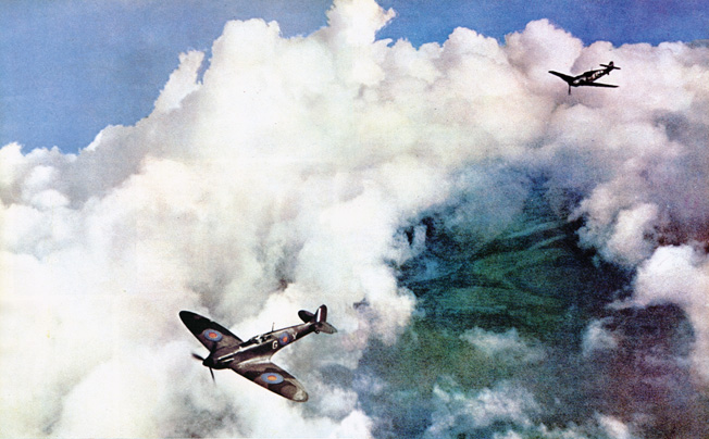 A Spitfire pilot dives to avoid machine-gun fire from an attacking German Messerschmitt Me-109.