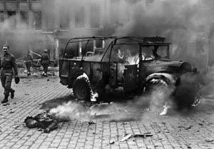 A V-2 blast in Antwerp, Belgium.