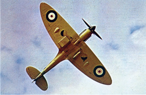 The distinctive elliptical wings of the Supermarine Spitfire are clearly visible in the photograph. The distinctive design made identification of the fighter easy and provided better aerodynamics.