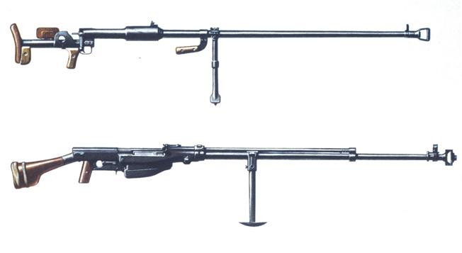 2-M65-G1-1941 2.WK./ sowjet. Panzerbuechsen PTRD und PTRS, 1941/ Schautafel Militaer / Waffen: Gewehr. - Sowjetunion: Panzerbuechsen PTRD (Protiwotanskowoje Ruschjo Degtjarjowa), Modell 1941, Kaliber 14,5 mm (oben) und Simonow PTRS-41 (Protiwotankowoje Ruschjo Simonowa), Modell 1941, Kaliber 14,5 mm. - Schautafel (Farbdruck). Aus: Siegeswaffen, Hrsg. Molodaya Guardia (Junge Garde), 1975. (Khomenko).