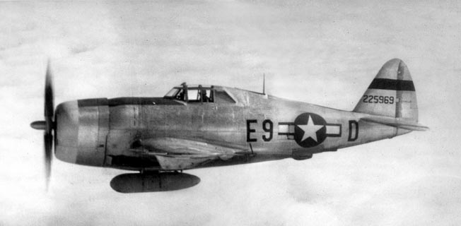 This P-47 was originally assigned to the 56th Fighter Group of the U.S. Eighth Air Force in Europe. It was flown by Lieutenant Roach Stewart, Jr., until it was lost in August 1944.