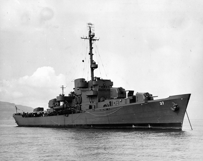 The Taney lies at anchor following its major armament upgrade in 1943.