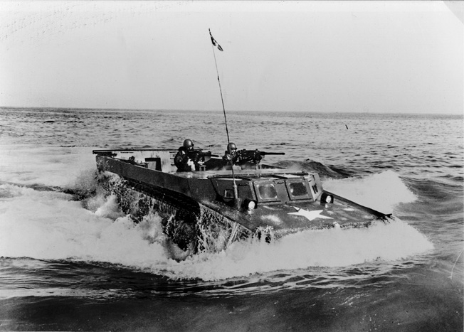 The U.S. military modified the basic Roebling invention to its own specifications. One of the later incarnations of the Alligator was the LVT-4 Water Buffalo with an enclosed driver's compartment and a pair of Browning machine guns to add fire support for assault troops.