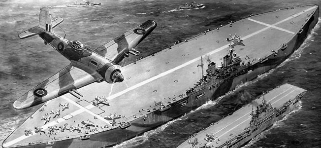 "Illustration showing the top secret design for HMS 'Habbakuk' (centre), a giant aircraft-carrier built of ice and wood pulp, which was proposed as a secret weapon in the Second World War.  This project was put forward by Geoffrey Pyke in 1942, but was never built as the practicalities involved were too much for the British war effort.  The 'Habbakuk' is shown next to HMS 'Indefatigable' (right), a large British aircraft-carrier built of conventional materials.     Date: 02/03/1946 ©Mary Evans / The Image Works       NOTE: The copyright notice must include ""The Image Works"" DO NOT SHORTEN THE NAME OF THE COMPANY"