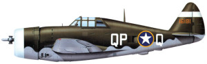 Profile view of the Republic P-47 Thunderbolt aircraft.
