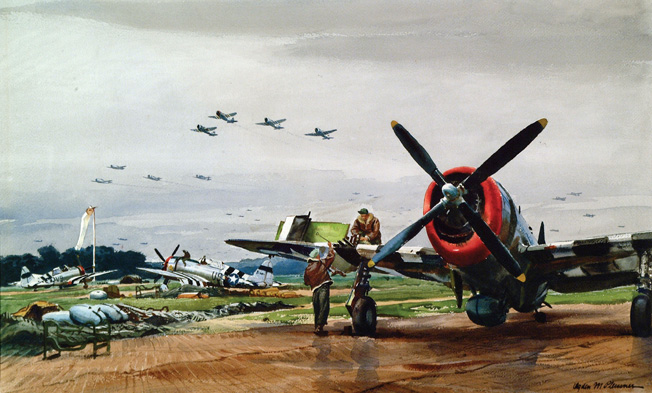 Their invasion stripes prominently displayed, Republic P-47 Thunderbolt fighter planes are prepared for action on D-Day.