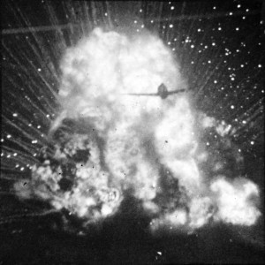 A P-47 of the U.S. Ninth Air Force destroyed a German ammunition truck in a ball of fire on August 15, 1944.