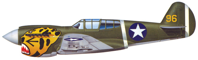More than 2,300 of the P-40E were built before and during World War II. This particular aircraft is painted with the nose art of an Aleutian Tiger.