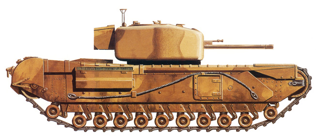 The Mk IV, a later version of the Churchill tank, offered a few improvements over the original design. In this rendering, the numerous small wheels of the tank's drive train are clearly visible.