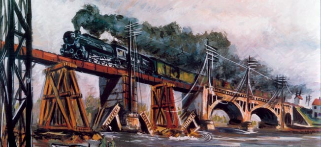 In this painting by artist  A. Brockie Stevens, a train crosses a bridge over the Moselle River somewhere in France while American combat engineers and a pair of French children wave from below.