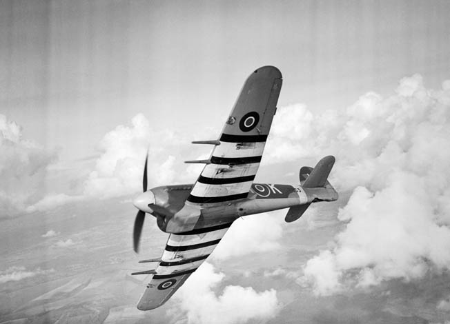 The Typhoon was often mistaken by Allied pilots and antiaircraft gunners for the German Focke Wulf FW-190; the alternating black and white stripes helped alleviate the problem.