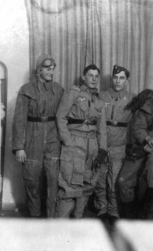 Dulias (left) and two of his fellow cadets are dressed in summer flight uniforms.