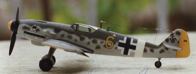 This replica of the Me-109 Dulias was flying when he was shot down provides an appreciation of the sleek lines of the fighter and displays the extensive Luftwaffe camouflage scheme that was popular at the time.