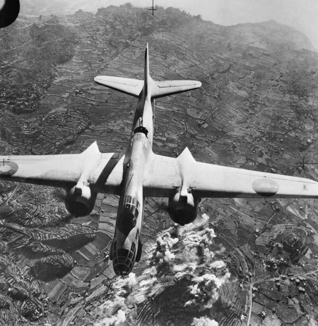 A Douglas Boston bomber of the Royal Air Force heads for home after dropping its payload on the Axis defenses of Pantelleria astride the invasion route for Sicily.