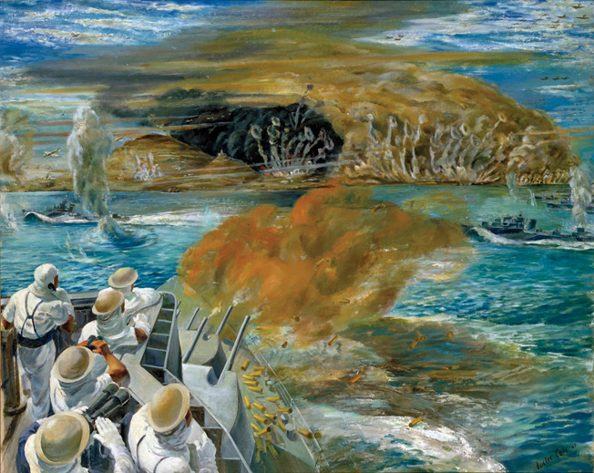 Leslie Cole's 1943 painting of the Allied amphibious attack on Pantelleria depicts the scene from the cruiser HMS Newfound- land, from which Admiral C.H.J. Harcourt flew his flag. Harcourt commanded the naval support force that bombarded the shore- line of the island.
