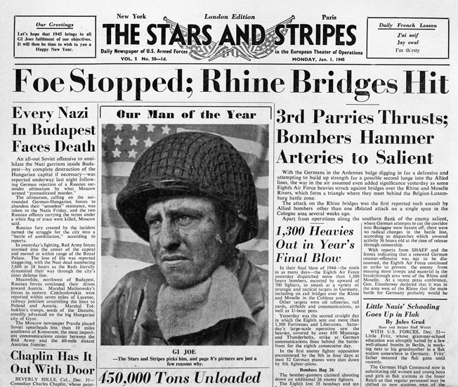 The originally misidentified photo of John Henry Parks was the focus of the front page of the January 1, 1945, issue of Stars and Stripes, London edition. His tanker helmet, shown in the original photo at right, was replaced with an infantry helmet by photo lab artists.