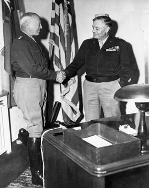 General George S. Patton, Jr., greets General Lucian J. Truscott, one his most trusted divisional commanders.