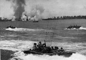 Marines aboard amtraks on the way to Peleliu