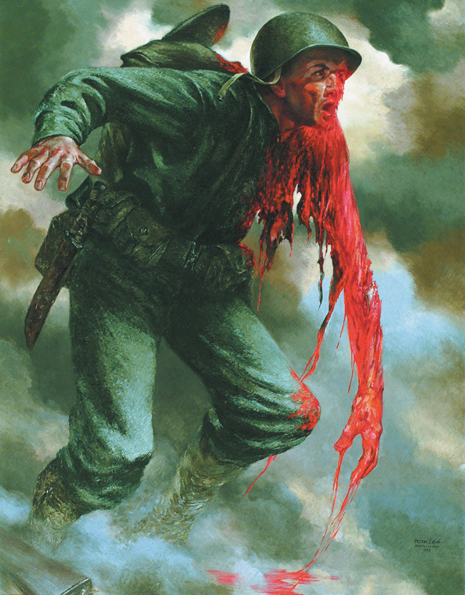 Tom Lea's graphic depiction of a severely wounded U.S. soldier is one of many grisly scenes the artist witnessed when he landed with Marines on Peleliu. Caught in heavy combat during the assault, the Life magazine correspondant later completed a series of paintings based on his experiences during the battle.