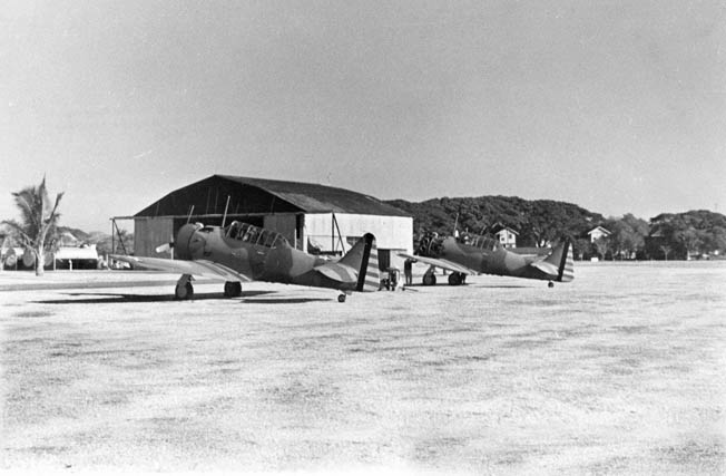 North American A-27s of the 17th Pursuit Squadron photographed at Nichols Field in 1941.