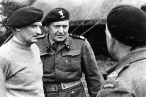 British Field Marshal Bernard L. Montgomery (left) and Polish Major General Stanislaw Maczek confer with a group of staff officers. Maczek commanded the Polish 1st Armored Division.