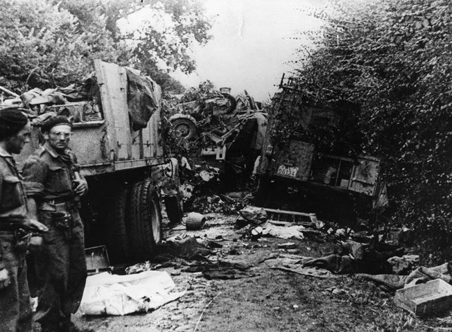 During their frenetic attempt to escape encirclement at Falaise, German columns were ravaged by marauding Allied aircraft, and tons of equipment was abandoned along the roads leading eastward. The bodies of dead men and horses were strewn thickly as well.
