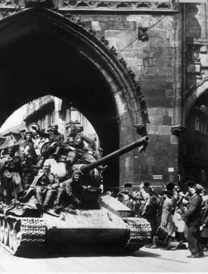 WORLD WAR II: PRAGUE, 1945. Red Army liberating Prague, Czechoslovakia, from Nazi rule, May 1945.