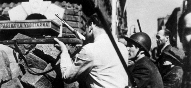 circa 1945:  Street fighting in Prague during the liberation of Czechoslovakia.  (Photo by Keystone/Getty Images)