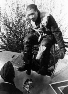 During his tenure as commander of the famed JG-26 fighter squadron of the Luftwaffe, Adolf Galland emerges from the cockpit of his Messerschmitt Me-109 fighter after landing at a forward airfield in France near the coast of the English Channel in 1940.