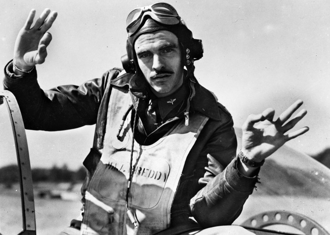 Maj. George E. Preddy, 8th AF fighter pilot stationed in England, who shot down 6 German planes on one mission. One of the top aces in the ETO, he had 25.5 shot down and 6 destroyed on the ground.