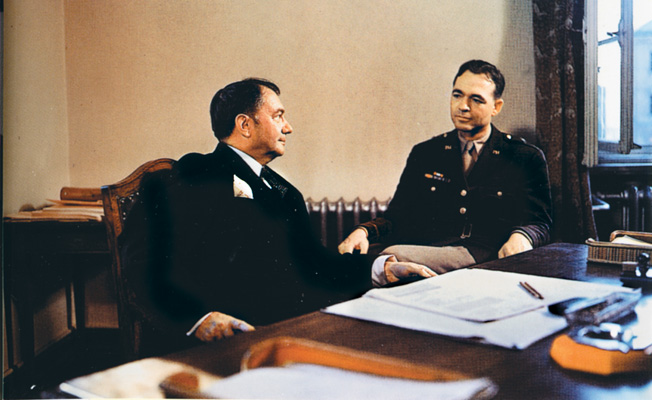 U.S. Army Brigadier General Tellford Taylor (left) and U.S. Supreme Court Associate Justice Robert Jackson sit in Jackson's office during a recess in the proceedings of the International Military Tribunal in Nuremberg in 1945-46.