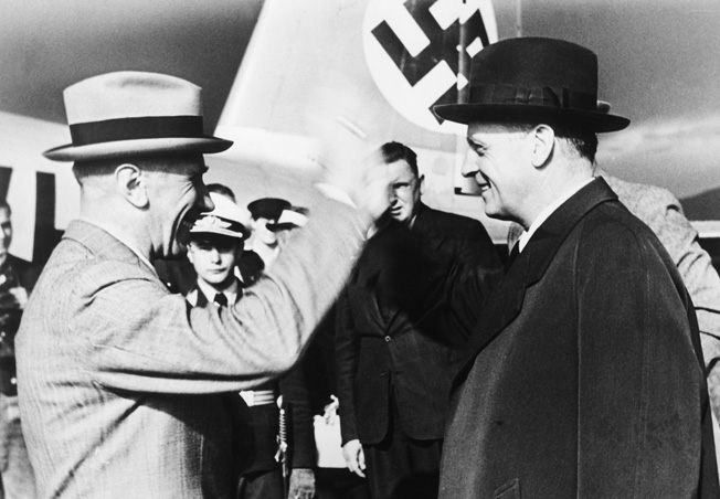 Prior to the signing of the Nazi-Soviet nonagression pact on August 23, 1939, German Foreign Minister Joachim von Ribbentrop departs the company of Ambassador Franz von Papen. (akg-images)