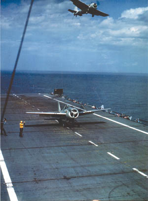 One Wildcat prepares to take off while another flies overhead. In his short career, O'Hare served on four different aircraft carriers.