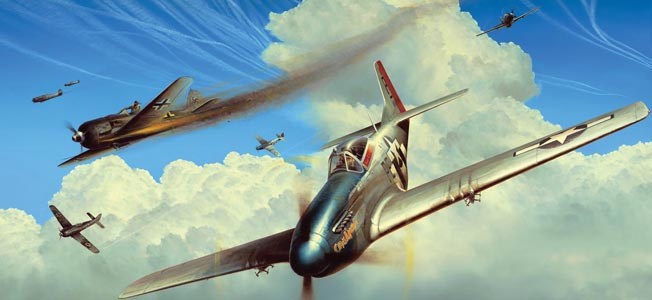 In this painting by artist Richard Taylor, American ace George Preddy leads aircraft of the 352nd Fighter Group against German planes during a mission escorting Boeing B-17 Flying Fortress bombers over the city of Merseburg, Germany, on November 21, 1944.
