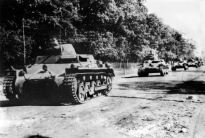 German tanks roll triumphantly through the outskirts of Warsaw on October 3, 1939, a month after the Nazi juggernaut crossed the border and ignited World War II. The Soviet Red Army also invaded Poland from the east.