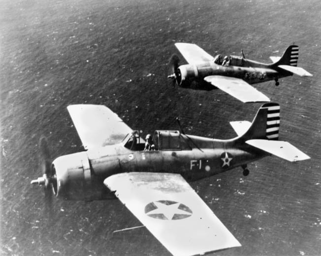 Thach's Wildcat (foreground) and O'Hare's, photographed near Oahu on April 11, 1942. Thach was impressed with O'Hare's innate flying skills.