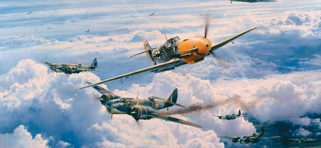 In this painting by artist Robert Taylor, Luftwaffe ace Adolf  Galland and his wingman Bruno Hegenauer streak through a screen of Royal Air Force Supermarine Spitfire fighters to attack British Bristol Blenheim bombers in the skies above embattled France on June 21, 1941.