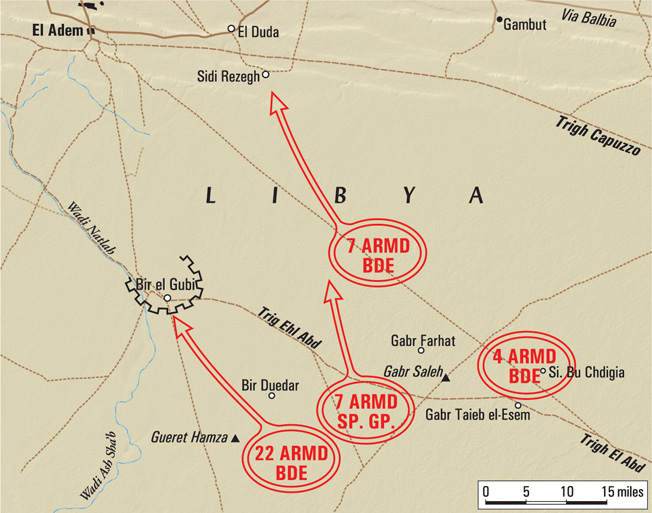 Elements of four British armored formations mounted an offensive against Bir el Gubi and encountered stiff resistance from Italian tanks and antitank guns on November 19, 1941.